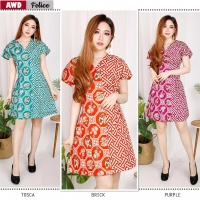 FELICE Casual Dress Batik A-Line AllSize - Homey Dress, Dress Kantor (AWD)