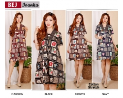 IVANKA Dress Wanita Casual A-Line Batik Modern fit up to L (BEJ)