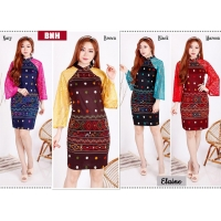 Elaine Dress Batik Pesta Kombinasi Brokat - Dress Wanita AllSize (BNH)