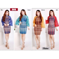 Elaine Dress Batik Pesta Kombinasi Brokat - Dress Wanita AllSize (BOB)