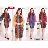 Elaine Dress Batik Pesta Kombinasi Brokat - Dress Wanita AllSize (BPZ)