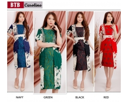 CAROLINE Dress Batik kombinasi Brokat - Dress Pesta, Dress Kantor AllSize (BTB)