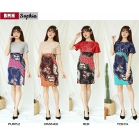 SOPHIA Dress Wanita Batik Modern Kombinasi Lace Brokat One Size (BMH)