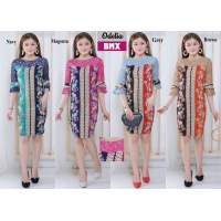 Odelia Dress Batik Kombinasi Lace/Brokat Bell-Sleeves fit to L kecil (BMX)