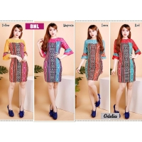 Odelia Dress Batik Kombinasi Lace/Brokat Bell-Sleeves fit to L kecil (BNL)