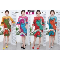 Odelia Dress Batik Kombinasi Lace/Brokat Bell-Sleeves fit to L kecil (BOC)