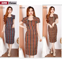 Vivian Dress Batik Modern Wanita Kerah Unik Cutting Pencil (JAMD)