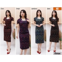 Vivian Dress Batik Modern Wanita Kerah Unik Cutting Pencil (SZ)