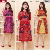 BEA Dress Semi Formal Wanita Batik kombinasi Brokat AllSize (BNJ)