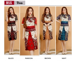 BEA Dress Semi Formal Wanita Batik kombinasi Brokat AllSize (BSX)
