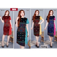 AUDREY Dress Batik Wanita Kombinasi Brokat AllSize fit up to L kecil (BNH)
