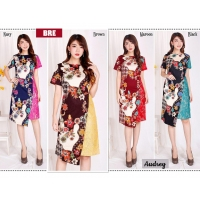 AUDREY Dress Batik Wanita Kombinasi Brokat AllSize fit up to L kecil (BRE)