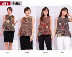 BELLA Batik Top Ruffle Sleeveless - Atasan Blouse Wanita fit up to L (AKV)