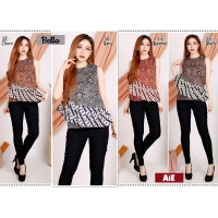 BELLA Batik Top Ruffle Sleeveless - Atasan Blouse Wanita fit up to L (AiE)