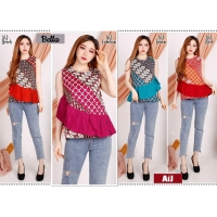 BELLA Batik Top Ruffle Sleeveless - Atasan Blouse Wanita fit up to L (AiJ)