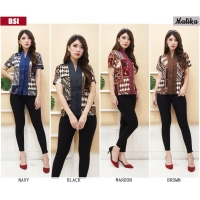 MALIKA Blouse Batik model Abaya Modern - Atasan Wanita fit up to L kecil (BSI)
