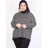 Chikita Striped Big Size Top - Atasan Kaos Wanita Lengan Panjang Jumbo - BLACK