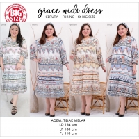 GRACE Midi Dress Jumbo Lengan Panjang - Big Size + Free Bandana