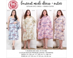 LAUREN Dress Jumbo Midi Kombinasi - Big Size Dress Casual (2)