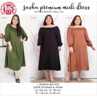 SASHA Premium Midi Dress Big Size Jumbo fit up to XXL (3)