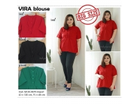 VIRA Pleats Neck Big Size Blouse - Atasan Wanita Jumbo [BST02]