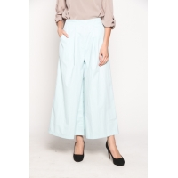 TANIA Wide Pleats Long Culotte Pants - BLUE