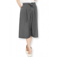 Jessica Pleats Culotte Pants - DARKGREY