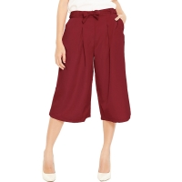 Jessica Pleats Culotte Pants - RED