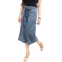 Casual Culottes with Waist Tie - BLUE