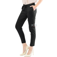 Barbara Stretch Cotton Pants - BLACK (beda kantong)