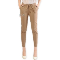 Barbara Stretch Cotton Pants - BROWN