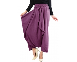 Viona Front-Tied Harem Long Pants - PURPLE2