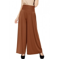 Pleated Long Culotte Pants - CARAMEL2