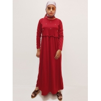 KASANDRA Gamis Pearly / Gamis Polos Wanita / Dress Muslim AllSize - RED