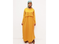 KASANDRA Gamis Pearly / Gamis Polos Wanita / Dress Muslim AllSize - YELLOW