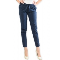 Barbara Stretch Cotton Pants - NAVY