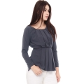Brenda LongSleeves Pleats Top - DARKGREY