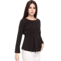 Brenda LongSleeves Pleats Top - BLACK