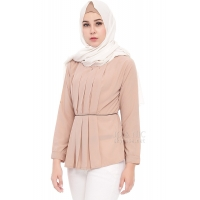 Brenda LongSleeves Pleats Top - BEIGE