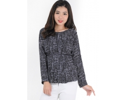 Brenda LongSleeves Pleats Top - ABSTRACT BlackWhite
