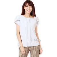 Abbey Tulip Sleeve Blouse - WHITE