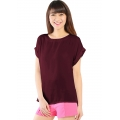 Claire Back-Zip Simply Top - MAROON