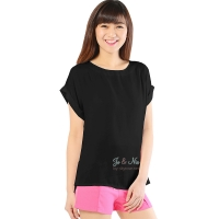 Claire Back-Zip Simply Top - BLACK