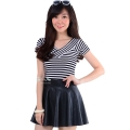 Tiffany V-Neck Stripes Top - BLACK