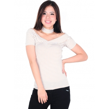 Kaos Salur Wanita Tiffany V-Neck Stripes Top - CREAM
