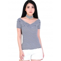 Kaos Salur Wanita Tiffany V-Neck Stripes Top - NAVY