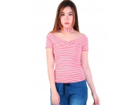 Kaos Salur Wanita Tiffany V-Neck Stripes Top - PINK