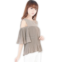 Penny Pleated Cold Shouder Top - BEIGE