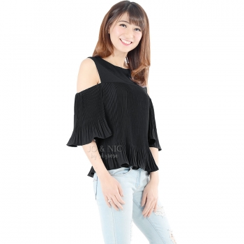 Penny Pleated Cold Shouder Top - BLACK