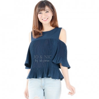 Penny Pleated Cold Shouder Top - NAVY